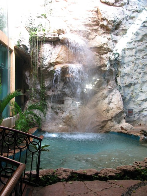 Waterfall in lobby of a Cancun Spa.