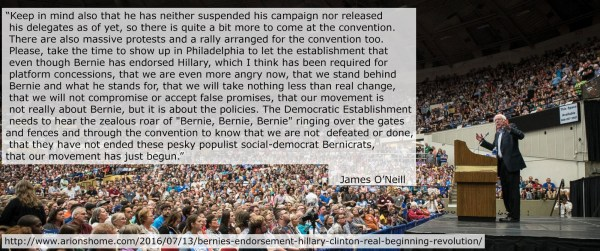 Quote from my post titled 'Bernie's Endorsement of Hillary Clinton and the Real Beginning of the Revolution'