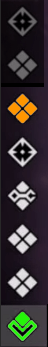 Turn Status Icons with current soldier's highlighted in green and the soldier the mouse is hovered over is highlighted in orange (Phoenix Point)