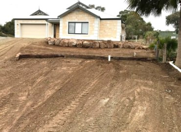 Front Yard Retaining Wall Earthmoving Services Barossa Valley