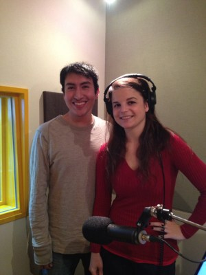 Alisha and Fernando, a voice host for Spanish lessons, in the studio