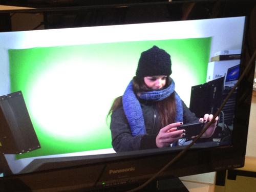 A green screen in a studio