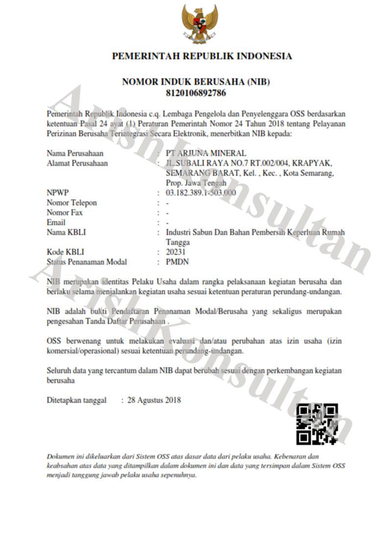 Jasa Konsultan Pengurusan NIB (Nomor Induk Berusaha) Biaya