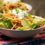 Shredded Chicken Taco Salad {+ how to make crockpot salsa chicken}