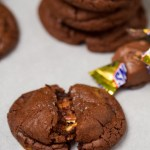Snickers Stuffed Chocolate Brownie Cookies