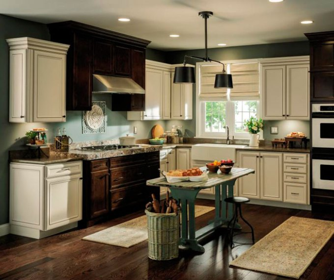 Aristokraft Cabinetry Rustic Kitchen Cabinets With Contrasting Finishes