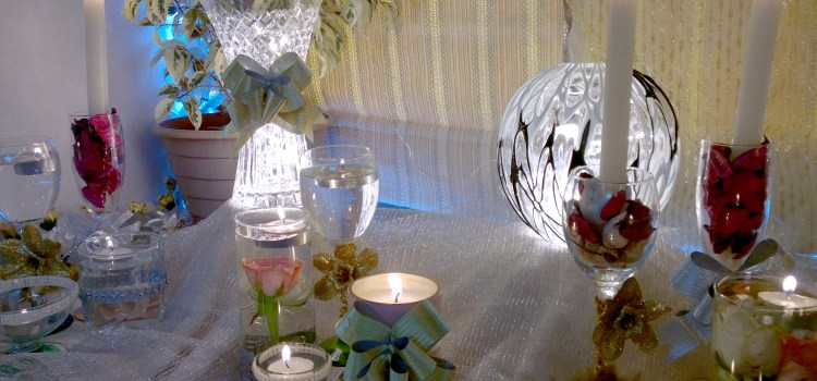 DIY Ganpati Decoration With Glasses And Candles