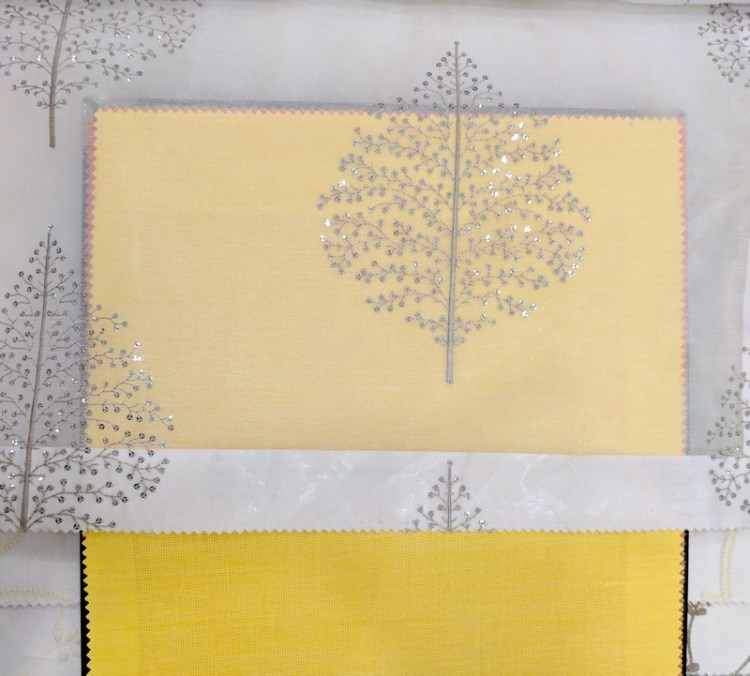 Fabric Selection - White and silver tree of life sheer