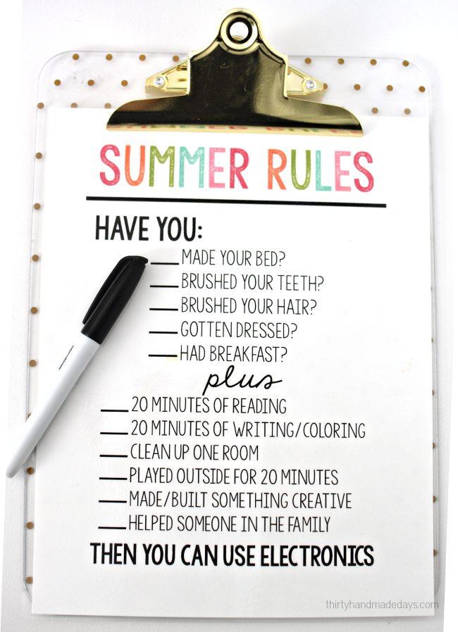 10 Cute Chore-Reward Ideas for Your Child's Room - Summer chore list