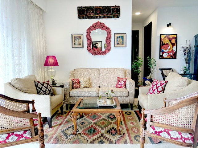 Red and Cream Living Room Reveal