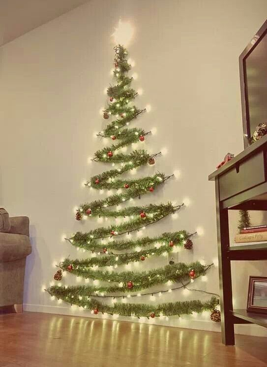 20 Cute and Easy Christmas Decor Ideas - Wall tree