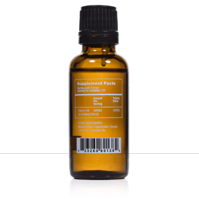 Liquid Vitamin D3 Bottle Back