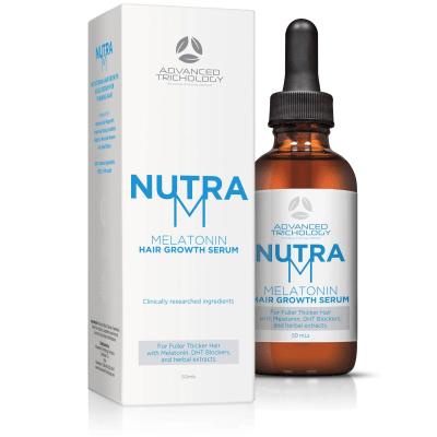 Topical Melatonin Hair Growth Serum Box and Bottle
