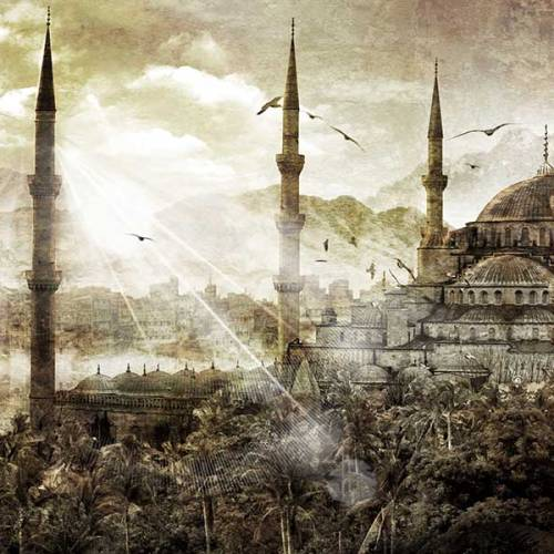 Tableau oriental mosquee Istanbul ocre
