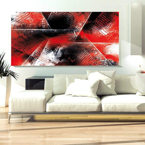 Tableau oriental - Abstrait rouge et noir