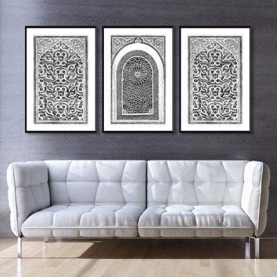 Poster oriental arabesque triptyque