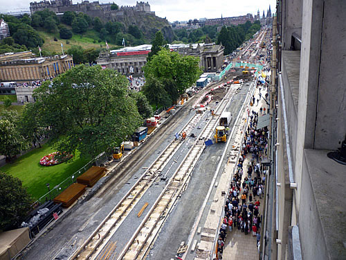 Edinburgh Princes St Tramworks Aug 09