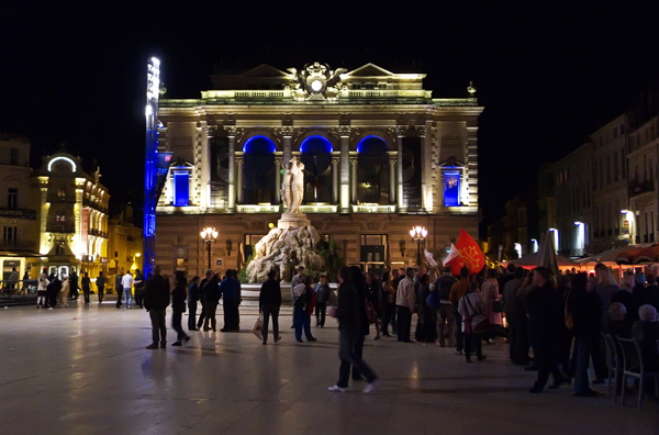 Election Night France - waiting for the result in Place de la Comedie, Montpellier