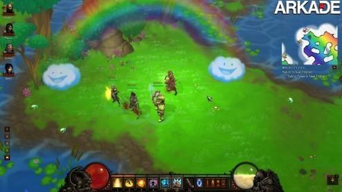 """Encontrado o """"cow level"""" de Diablo III, com arco-íris e unicórnios"""