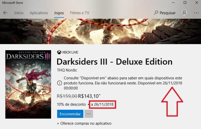 Loja oficial da Microsoft vaza data de lançamento de Darksiders 3!