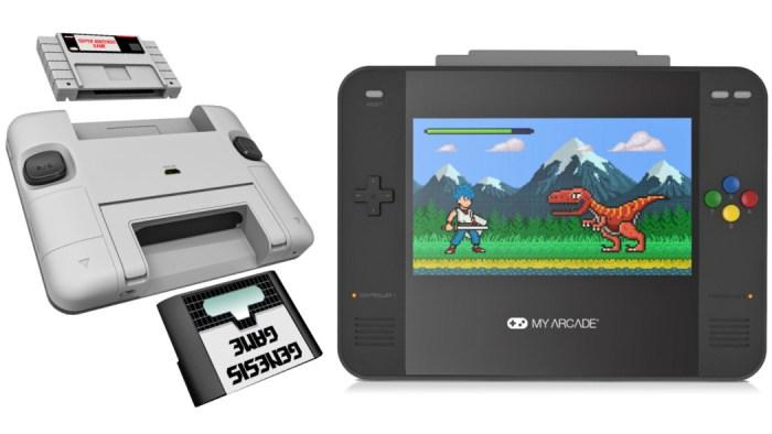 O Super Retro Champ é um portátil que permite jogar com cartuchos de Super Nintendo e Mega Drive
