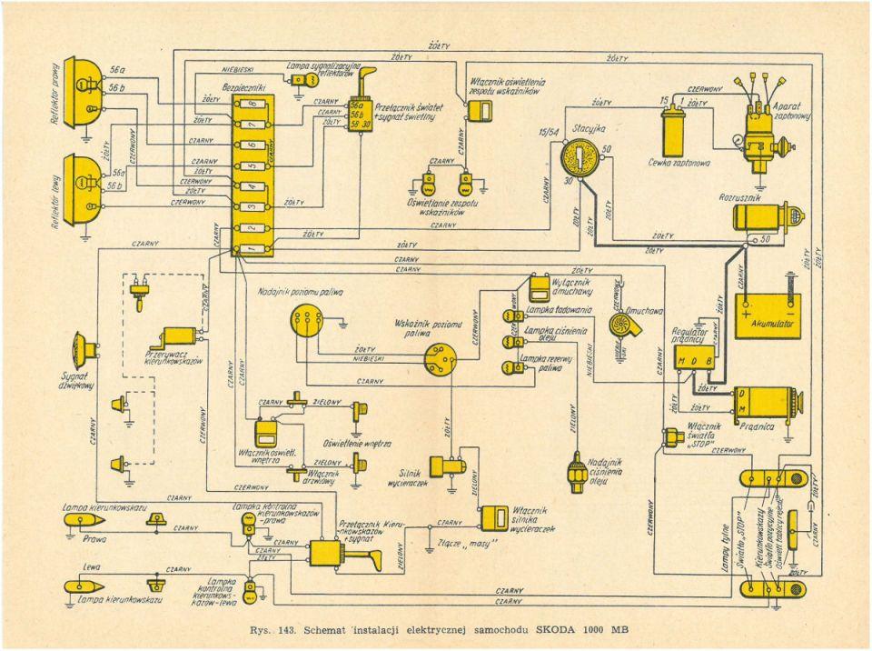 Schemat instalacji elektrycznej SKODA 1000MB