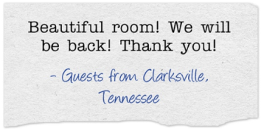 """Comment from guest, """"Beautiful Room!"""""""