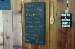 Menu of sandwiches and other snacks at the winery.