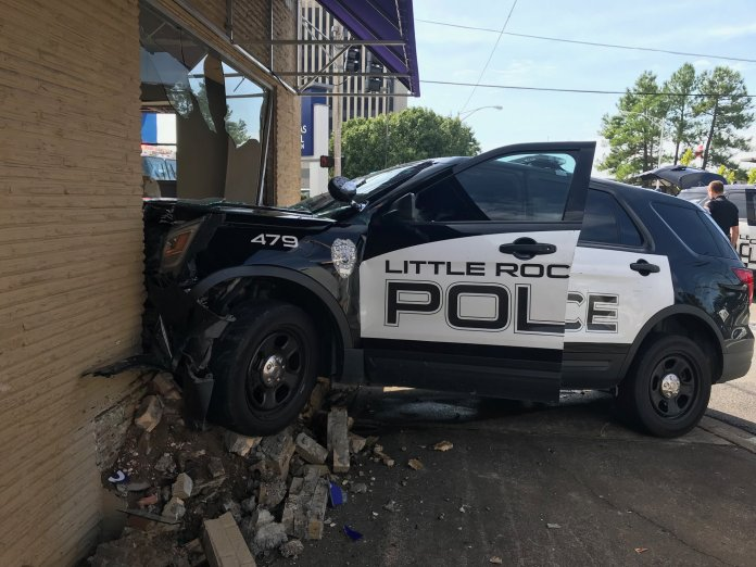 Little Rock Police Car Crashes Into Building