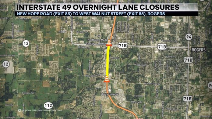 Ongoing Construction To Close Lanes Of I-49 Starting Tonight