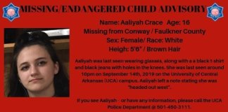 Arkansas State Police seek help for missing 16 year old from UCA Campus