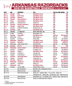 Razorbacks Release 2019-20 Basketball Schedule