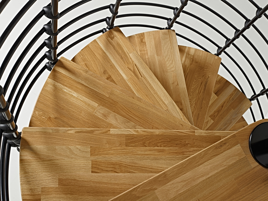 Oak70 Xtra Metal Steel And Wood Spiral Staircase Fontanot | Spiral Staircase Wood Treads | Arke | Design | Checker Plate | Platform Stair | Aluminum
