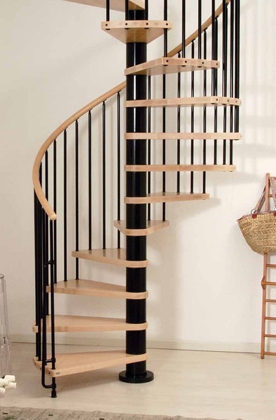 Phoenix Wood Tread Spiral Staircase Kit Metal Steel And Wood   Wooden Spiral Stairs Design   Interior   Curved   Space Saving   Rustic   Contemporary
