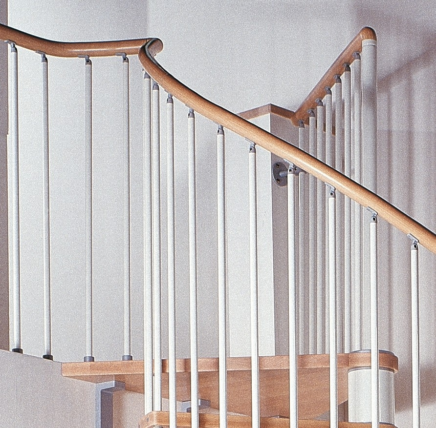 Phoenix Wood Tread Spiral Staircase Kit Metal Steel And Wood | Iron And Wood Staircase | Traditional | Spiral | White | Internal | Cherry Wood