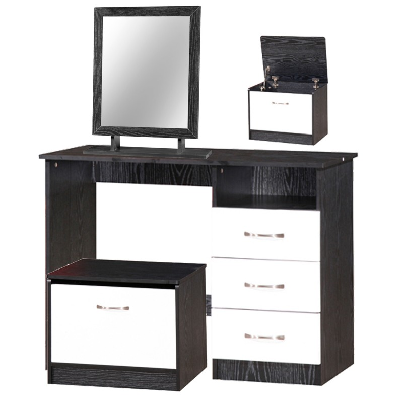 marina white gloss black dressing table