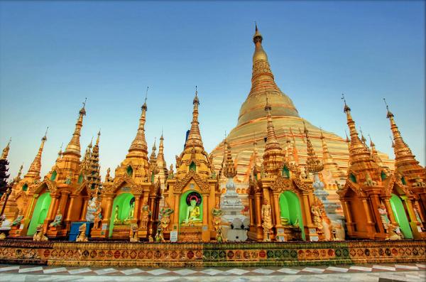 Blue Hour at the Golden Shwedagon Pagoda   Yangon   Myanmar (Burma)
