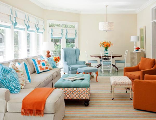 ideas para decorar en azul y naranja