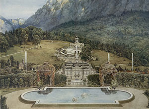 Acuarela de Heinrich Breling, alrededor de 1882: Vista del lado norte del palacio (edificio fase 5) del Pabellón de la Música