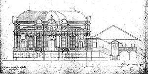 Plan para la fachada oeste que data de 1873 después de que el revestimiento de piedra (la construcción de la fase 4) y con la Logia Real sigue en su lugar