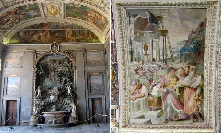 Sala d'Ercole (left) fountain; (right) Construction of a Temple to Hercules, fresco by Federico Zuccari (the man holding a piece of paper and compasses is il Vignola)