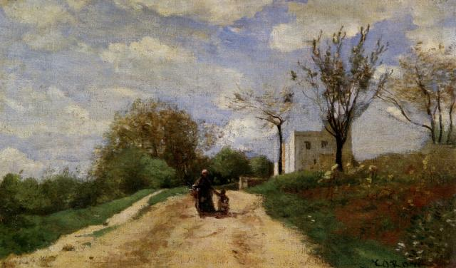 Jean-Baptiste-Camille Corot. El camino qu conduce a la casa.