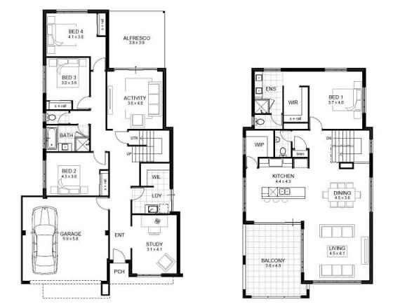 Dise os de casas de dos pisos arkiplus for Planos de casas de dos niveles