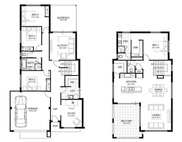 Dise os de casas de dos pisos for Planos de casas de 2 plantas
