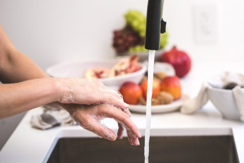A pair of hands being washed under the kitchen sink. Assorted plastic fruits can be seen in the background.
