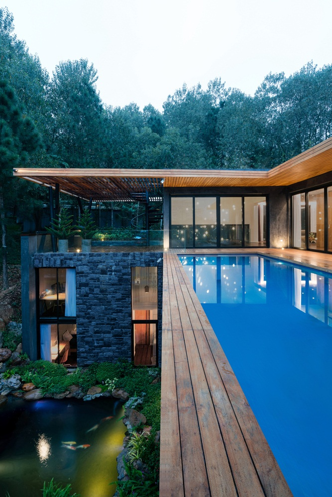 wooden villa design, simple wooden house design,