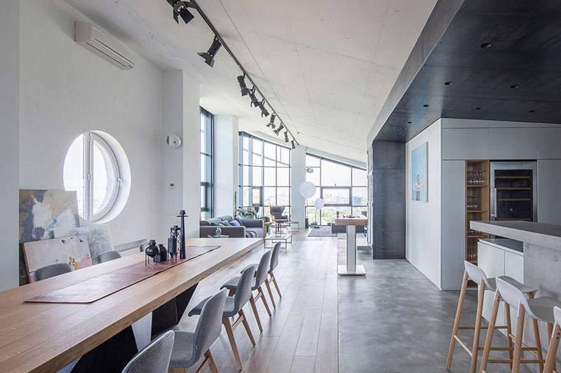 A Modern Example Of The Industrial Interior Design Of Penthouse In Kiev