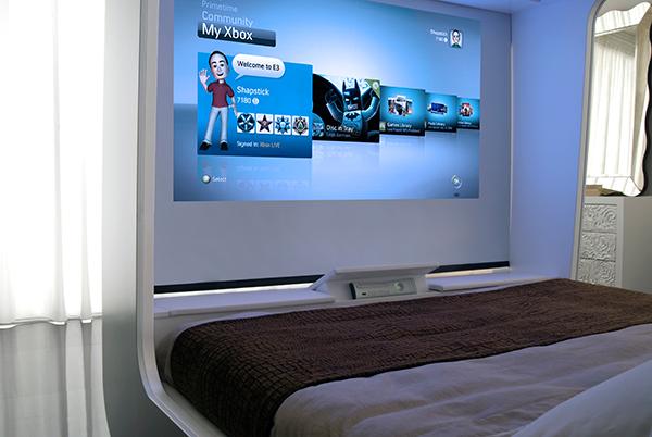 un lit pour jouer a la console de jeux