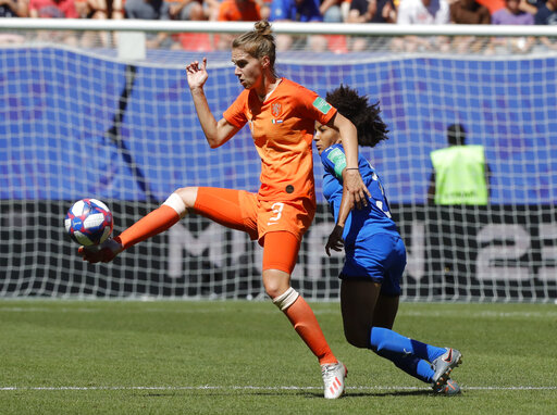 san francisco 81ba6 05483 Netherlands  Vivianne Miedema, right, and Italy s Sara Gama challenge for  the ball during the Women s World Cup quarterfinal soccer match between  Italy and ...