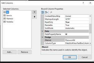 Edycja tabeli w Visual Studio